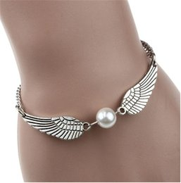 Imitation Pearls Wholesale NZ - Angel Wings Charms Anklet Women Foot Bracelet Brand Beach Fashon Leg Bracelet Chain Imitation Pearls Pendant Indian Anklet Party Jewelry