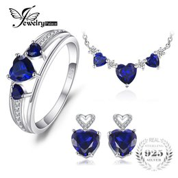 sapphire studs earrings UK - JewelryPalace Heart Love 4.5ct Created Sapphire Wedding Ring Chain Necklace Stud Earrings 925 Sterling Silver NGift For Girl