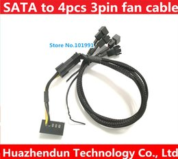 sata connectors 2019 - SATA to 3pin fan connector female 30cm 12V DC 4pcs 3pin fan 22AWG cable support high Power ROSH cheap sata connectors