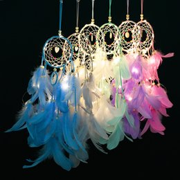 kind beads 2019 - Novelty Feather Crafts Dream Catcher LED Lighting Wind Chimes Handmade Dreamcatcher Net With Feather Beads for Wall Hang