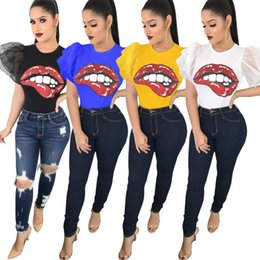 Wholesale Summer Women Ruffle Sleeve T shirts Big Red Mouth Print Tops Tees Crew Neck Short Sleeve Trendy Sexy Club Casual T shirts For Lady Girl
