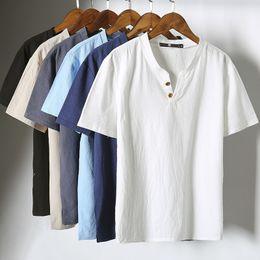 $enCountryForm.capitalKeyWord Canada - 2pcs lot 2018 design Linen Cotton Funny T Shirts T-shirt Men Fashion brand Button T shirt Men Tops Tees Casual Men's T-shirt