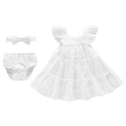 Infant Hair Styles UK - Vlinder 2018 New Baby Girls Summer Princess Style dress Cute Bow Tie hair band Newborn Short Sleeves Infant Dresses 3 in 1 set