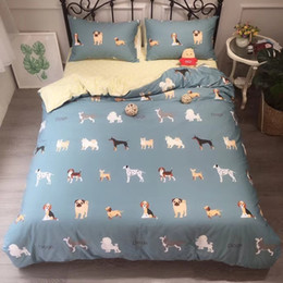 comb printing NZ - Cotton cartoon series bed sheet bedding set four-piece per set combed cotton fabric environmental printing and dyeing 13376queen and king