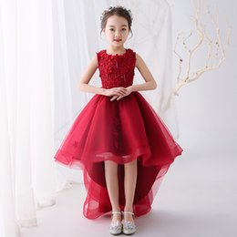 New desigN flower girl dresses online shopping - New Style Little Queen Dress Burgundy High Low Design Flower Girls Dresses With Beaded Appliques Wedding Party