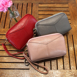 Wristlet Phone Holder Canada - Women Wallet Leather Card Coin Holder Money Clip Long Clutch Phone Wristlet Zipper Cash Photo Famous Brand Female Purse