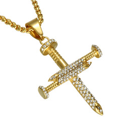 Drops Hip Jewelry Canada - 316L Stainless Steel Trendy Hip Hop Jewelry Cubic Zirconia Screw Cross Pendant Necklace For Men Women Accessories Drop Shipping