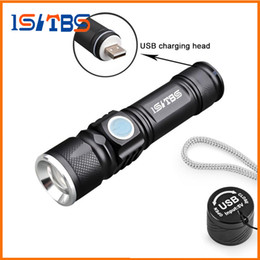 USB Handy LED Torch USB Flash Light Poche LED Rechargeable Lampe de Poche Zoomable Lampe Build-in 16340 Batterie Pour La Chasse Camping en Solde