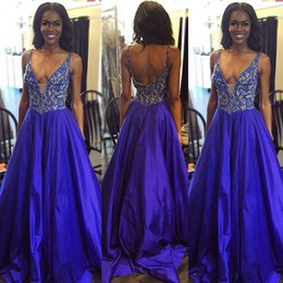 Wholesale African Royal Blue Prom Dresses Long Deep V Neck Taffeta Lace Appliques Beaded Black Girls Evening Party Gowns Formal Dress