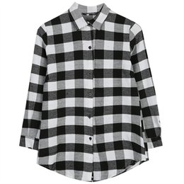 f05dc697b44 Lady Long Sleeve Plaid Check Oversized Top shirt Black White Plaid Blouse  Red Black Blouse Shirt cx