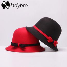 Discount blue bowler hats - Ladybro 2018 Spring Autumn Wide Brim Ladies Sun Hat Women Fedora Hat Imitation Wool Bowler Cap Vintage Felt Bowknot Cloc