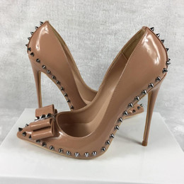 Office bOxes online shopping - brand shoes red sloe women pumps high heel shoes rivet pointed toe fine heel lady wedding shoes bottom for the red fashion party logo box
