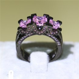 Luxury Wedding Bands NZ - Luxury Women 3Pcs Three-stone Wedding Band Ring Black Gold Filled Fashion Jewelry Square Pink Sapphire CZ Ring for Bridal Unique Gift Sz5-10