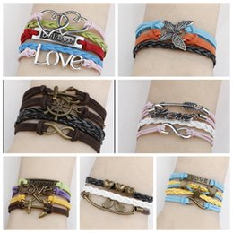 Wholesale New DIY hand knitted Leatherwear bracelet men punk LOVE Butterfly multi layered hand string multi skin rope Bangle Jewelry Christmas gift