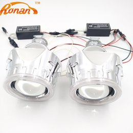 Discount bi xenon projector headlights for cars - RONAN 2.5 inch Mini HID Bi-xenon Projector Lens LHD RHD headlight with CCFL Angel eyes and Inverter for car styling Use