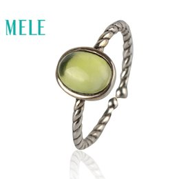 Wholesale Stylish and compact natural prehnite sterling silver open rings for women X8mm Oval cut gemstone fine jewelry
