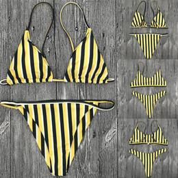 2018 Marine-Art-Bikini-Gelb-weißer schwarzer Streifen-justierbarer Bügel-Frauen-Bikini-Sommer-Strand-Art- und Weisebadeanzug