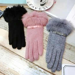 $enCountryForm.capitalKeyWord Australia - 150PAIRS   LOT Ladies Cashmere Gloves Screen Fmale Rabbit Fur Wrist Mittens Bow Lovely Elegant Warm Winter Gloves