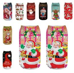 Christmas Reindeer Socks UK - Christmas 3D Printting Women Ankle Socks Santa Claus Snowman Reindeer Elk 3D Printed Short Stockings Xmas Emoticons Soft Texture Low Socks