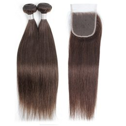 Tie Dye Hair UK - Raw Virgin Indian Human Hair Extensions 2 Bundles With 4*4 Hand Tied Lace Closure Color 4 Chocolate Brown Straight Hair Bundles