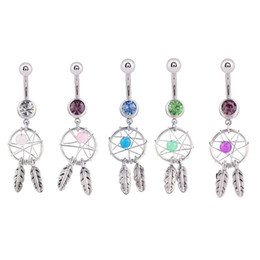 Wholesale Hot Women Dream Catcher Belly Rings Punk Personality Dream Catcher Navel Dangle Dream Catcher Belly Button Body piercing Jewelry