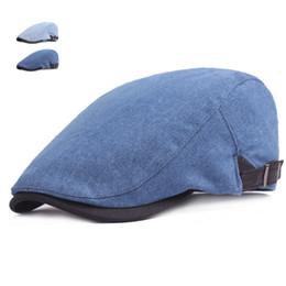 $enCountryForm.capitalKeyWord NZ - New Fashion Cowboy Jeans Caps for Men Women Casual Denim Beret Hats Flat Unisex Solid Denim Berets Hat Adult Duckbill Cap