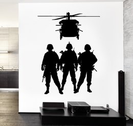 $enCountryForm.capitalKeyWord Australia - Removable Military Wall Vinyl Army Soldier Helicopter Marine Wall Sticker For Living Room House Decoration