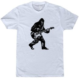 Guitar Electric Acoustic NZ - Bigfoot Guitar T Shirt Sasquatch Playing Electric Guitar Bass Acoustic Funny Tee