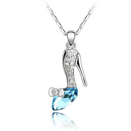 christmas gift shoes UK - hot sale Woman fashion jewelry made in china Use swarovski elements Crystal Necklace Originality Ornaments Dream crystal shoes Pendant