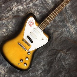 guitars fire 2020 - Custom Shop Vintage Sunburst Yellow Non Reverse Fire Thunderbird Electric Guitar White Pickguard 3 Single Coil Pickups,