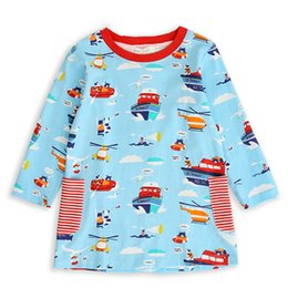 AmericAn girl cAr online shopping - New Arrival Baby Girls Dresses Children Long Sleeves Cartoon Boat Car Plane Printed Dresses Fashion Kids Clothes