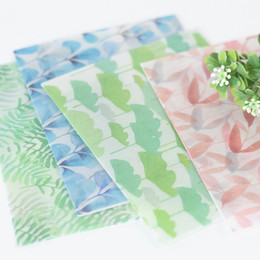 Wholesale Stationary Papers UK - 3pcs lot Flower Leaf green Color Translucent Parchment Paper Envelope Message Card Letter Stationary Storage Gift Sobres Papel