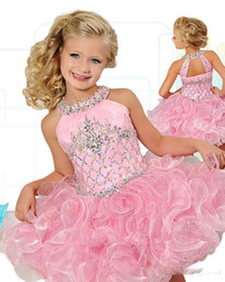 Cupcake Making Australia - Fashionable Pearl Pink Glitz Cupcake Girls Pageant Dresses Crystal Beaded Birthday Party Gowns Mini Custom Made Flower Girls Dress Wedding