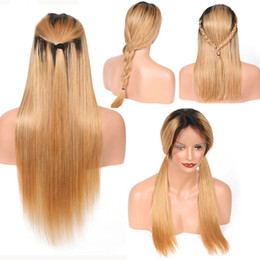 China LIN MAN ombre brazilian hair lace front wig 1b 27 Remy straight Human Hair Wigs With Baby Hair cheap human hair brazilian wigs 1b 27 suppliers