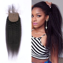 Discount part silk base closure straight - Peruvian Hair Closures Bleached Knots Free Middle Three Part Virgin Kinky Straight Human Hair Silk Base Closure