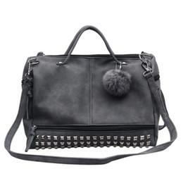 $enCountryForm.capitalKeyWord Australia - Vintage Nubuck Leather Female Top-handle Bags Rivet Larger Women Bags Hair Ball Shoulder Bag Motorcycle Messenger Bag