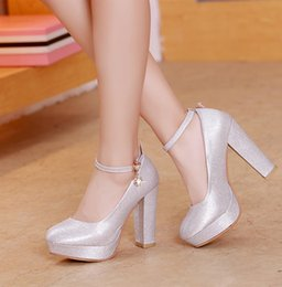 Mid Heels Wedding Shoes Canada - Plus size 34 to 40 41 42 bride glitter silver wedding shoes ankle strap platform mid heel pumps