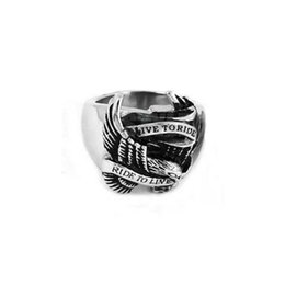 Stainless Steel Motors Canada - Free shipping! Live To Ride Eagle Ring Motorcycles Biker Ring Stainless Jewelry Steel Motor Ring SWR0005H