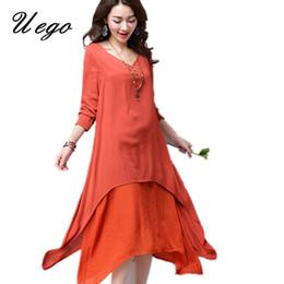 51a9e6e9b6 Plus Size Bohemian Linen Dresses Canada - Uego 2017 New fashion women  spring summer casual dress