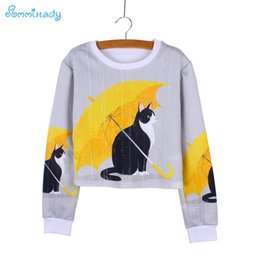 Discount under clothing - Novelty black Cat under yellow umbrella print girls crop sweatshirts fashion women clothes Harajuku pullovers tracksuits