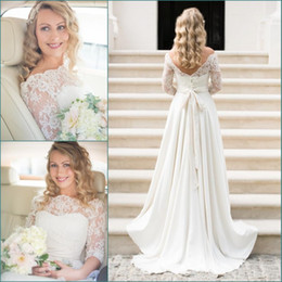 2da82e29c1 Ivory Lace Beach Country A Line Wedding Dresses 3 4 Long Sleeves Bateau Neck  Applique Sexy Open Back Bridal Gowns Plus Size Bohemain