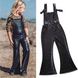 Discount flared jumpsuits - Kids Thickening Trousers Girl Spring Autumn PU Leather Overalls Children black Flare Pants Suspender Trousers Jumpsuit