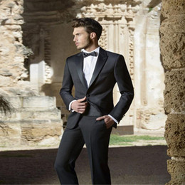images bridegroom dresses UK - 2018 Black Peaked Lapel Men Suits Wedding Suits Custom Made Bridegroom Groom Prom Tuxedos Formal Best Man Evening Dress Blazer 2 Pieces