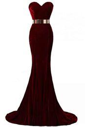 $enCountryForm.capitalKeyWord UK - Hot Sale Sexy Sweetheart Mermaid Evening Dresses Velvet Sleeveless Sashes Formal Evening Gowns Long Prom Dresses Floor Length Custom Made