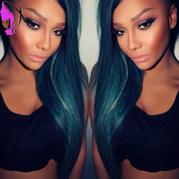 $enCountryForm.capitalKeyWord NZ - New style Ombre Dark Blue Green 2Tone Synthetic Hair Lace Front Wigs Wavy Pervado Hair High Temperature Fiber Glueless for women