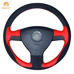 Vw Golf Cover Canada - MEWANT DIY Red Leather Black Suede Car Steering Wheel Cover for Volkswagen Old VW Golf Polo Sagitar Lavida 2010 Polo