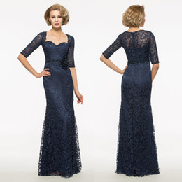 mother bride dresses navy white lace Australia - Navy Blue Lace Evening Dresses Plus Size Mother of Bride Dresses Short Sleeves Floor Length Sweetheart Neckline Customized Prom Dresses