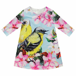 $enCountryForm.capitalKeyWord Canada - Girls Dresses nice Birds Print Children Designer baby Kids Clothes Fashion Kids 7 sleeve Girl clothing Spring and autumn dress