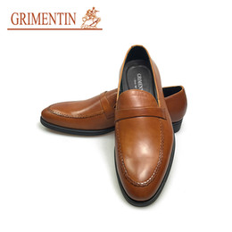 hot formal shoes NZ - GRIMENTIN Hot sale liantian fashion formal mens dress shoes 100% genuine leather men loafers brown wedding business party male shoes