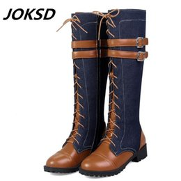 Low price Leather beLts online shopping - JOKSD Factory price Women Boots Low heeled autumn Winter Knee Boots quality High denim belt buckle fashion plus size
